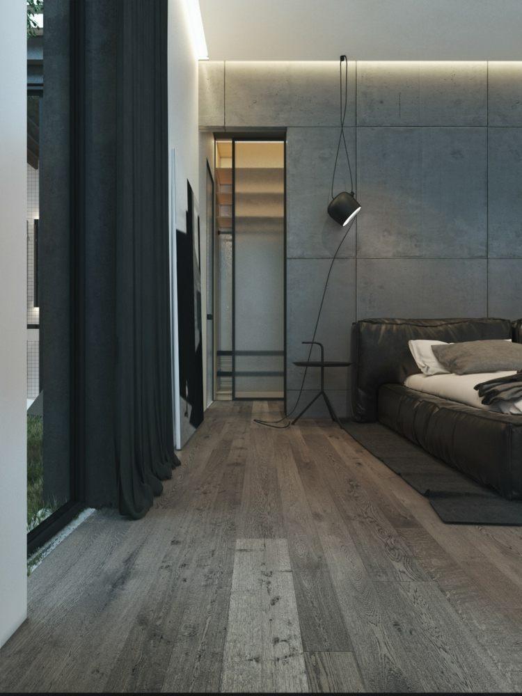 hormigon paredes salas cortinas grises cables