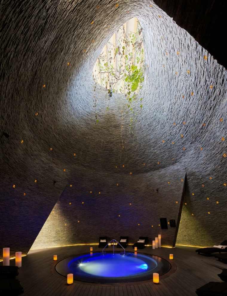 hoteles con encanto diseños rocas cascadas plantas