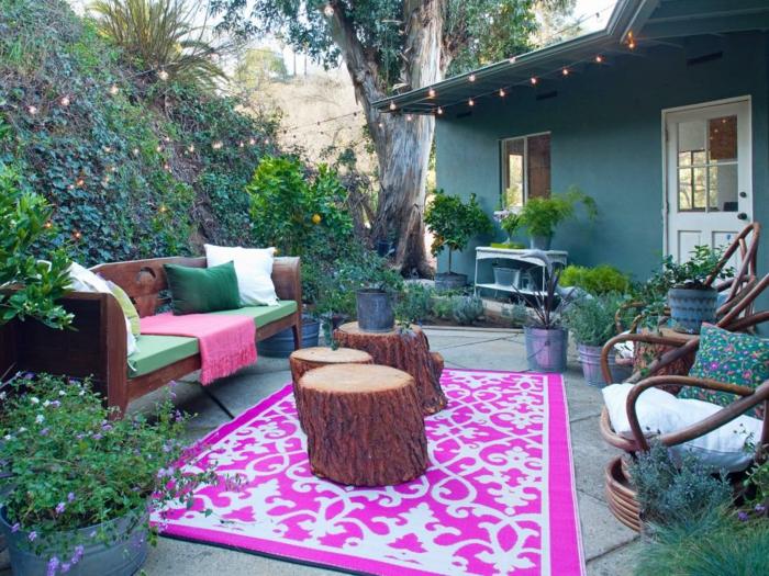 idea salones exteriores muebles rosas