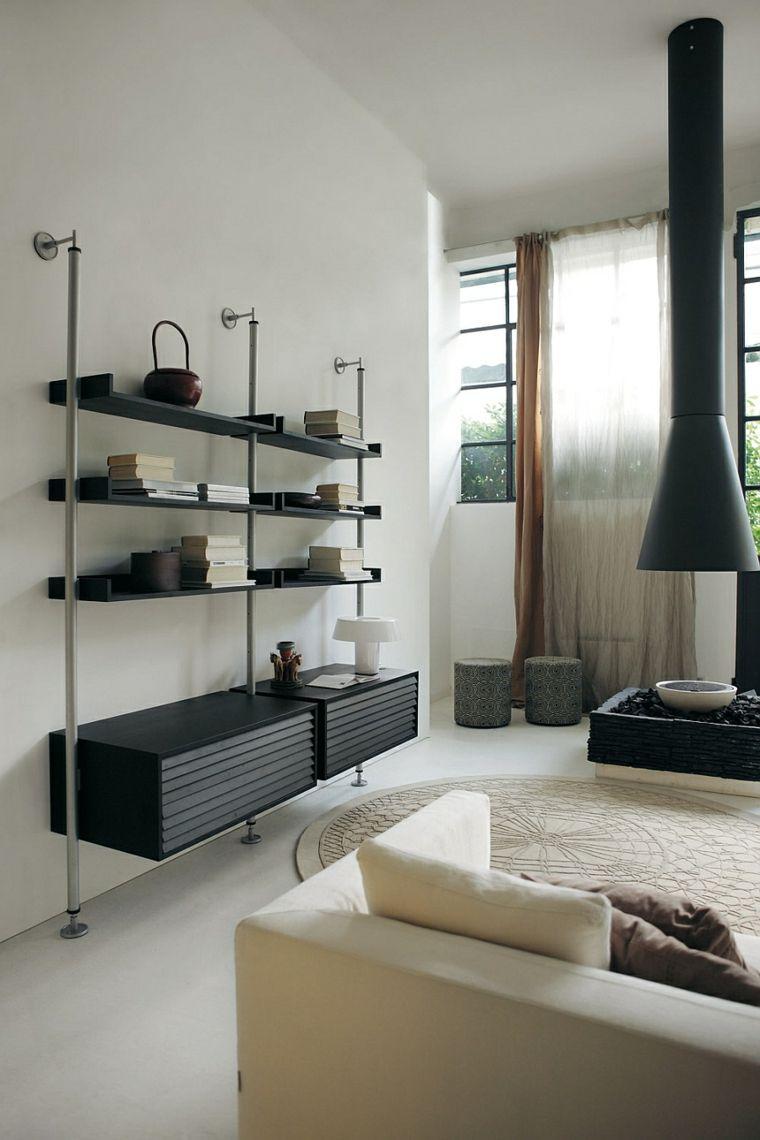ideas originales estantes pared salon minimalista ideas