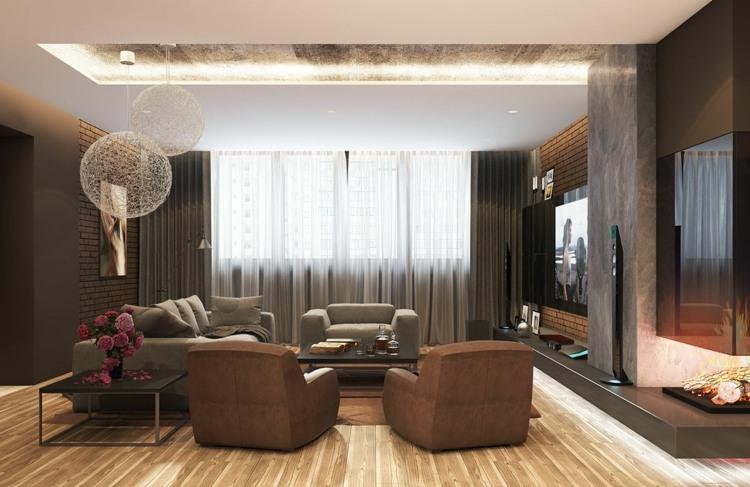 iluminacion diseño salones chimeneas decorados madera