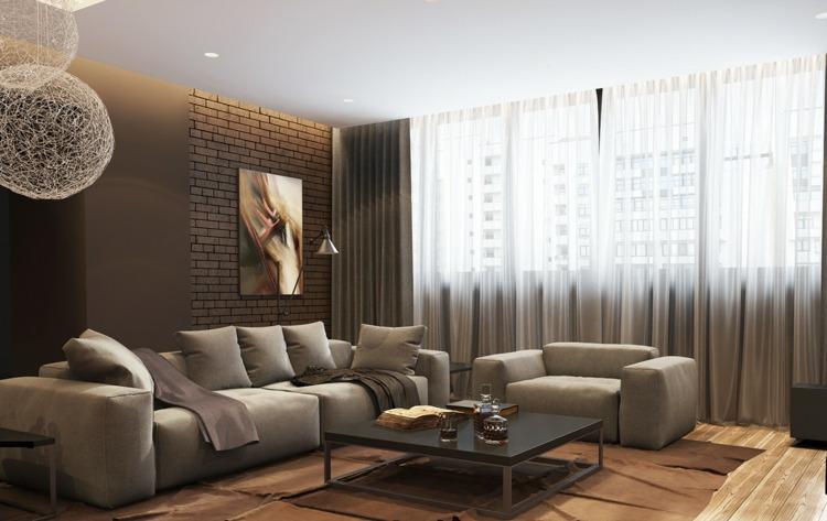iluminacion diseño salones sofas ladrillos
