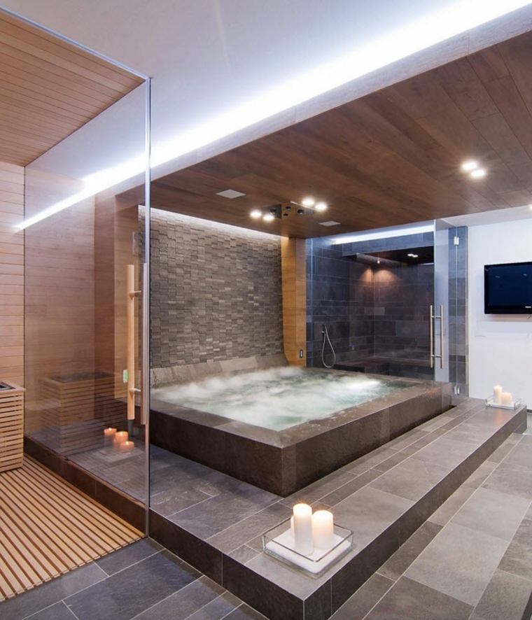 Imagenes de ba os 102 ideas para espacios modernos for Como decorar un jacuzzi interior