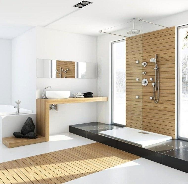 imagenes banos modernos amplio losas negras madera ideas