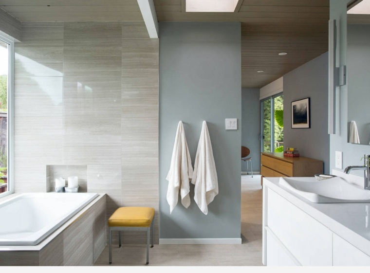 Baños Modernos Amarillos:imagenes banos modernos amplio taburete amarillo ideas