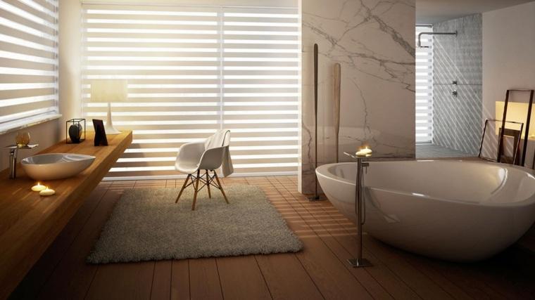 imagenes banos modernos lavabo madera marmol ideas
