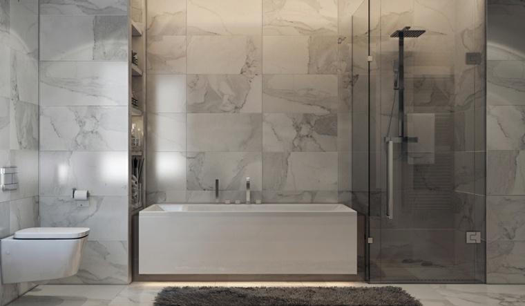 imagenes banos modernos marmol gris ideas