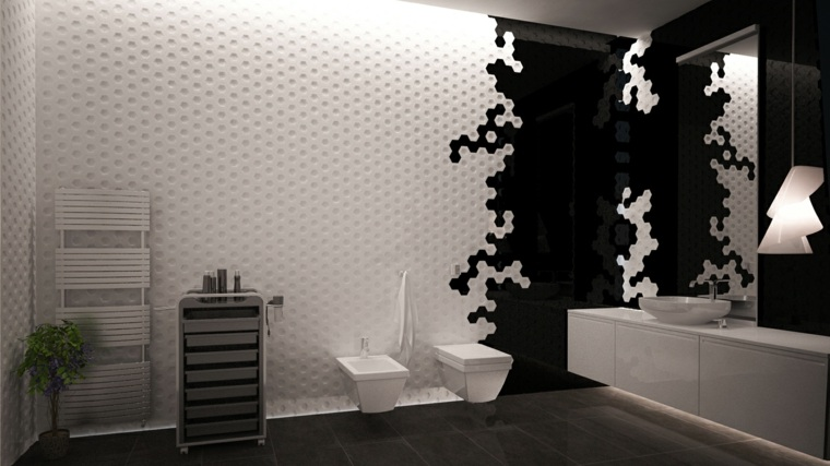 imagenes banos modernos pared blanco negro ideas