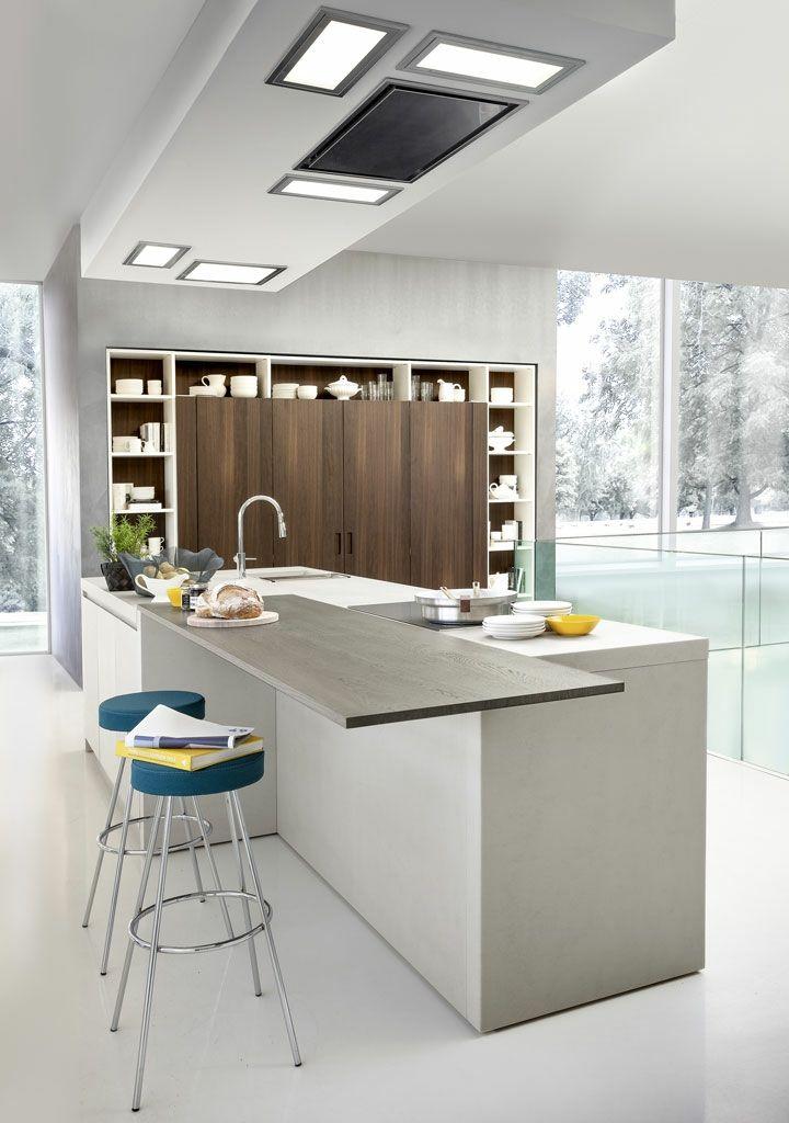 imagenes cocinas modernas metales banquetas azules