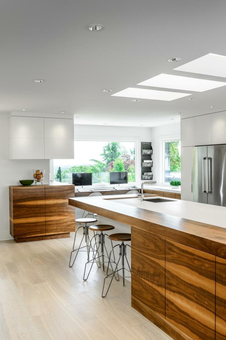 imagenes cocinas modernas taburetes blanco metales