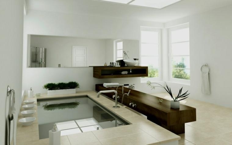 Imagenes de ba os 102 ideas para espacios modernos - Bancos de madera para banos ...