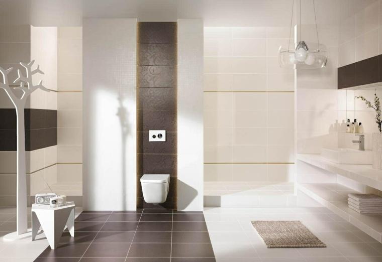imagenes de banos modernos conbinacion blanco marron ideas