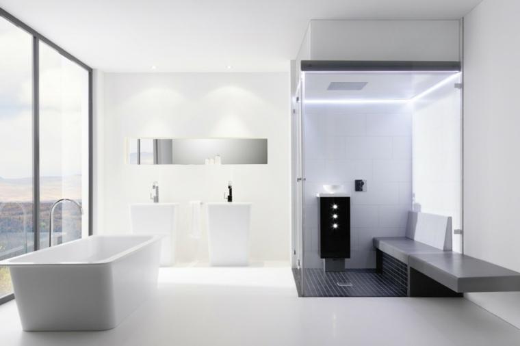 imagenes de banos modernos ducha banco banera ventana ideas