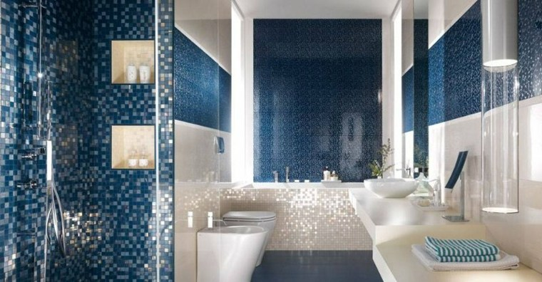 imagenes banos modernos glamuroso mosaico azul ideas