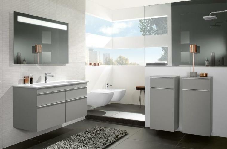 imagenes banos modernos lavabos gris ideas