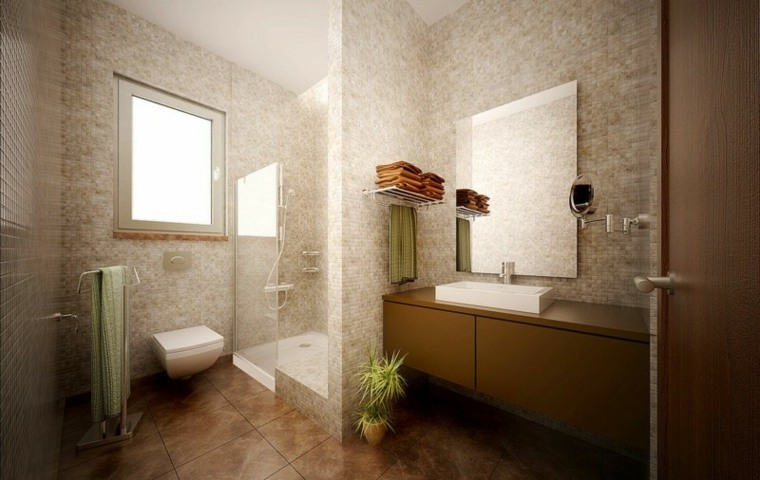 imagenes banos modernos mosaico color claro pared ideas