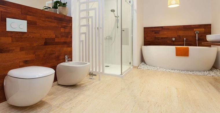 imagenes de banos modernos pared madera ideas