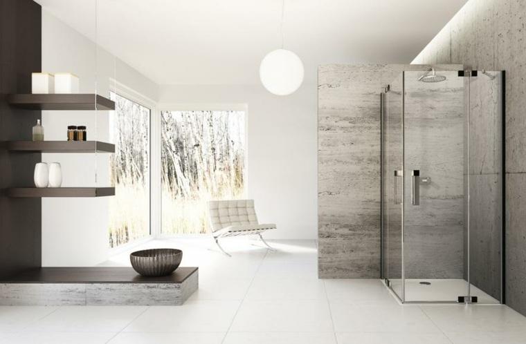 imagenes banos modernos paredes hormigon ducha ideas