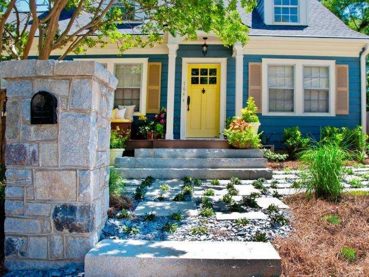 interesante diseño fachada azul