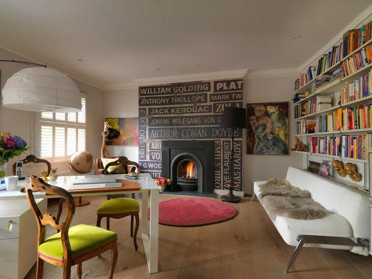 interiores modernos diseño biblioteca pared