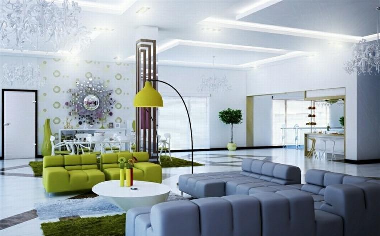 interior elementos asuientos color verde