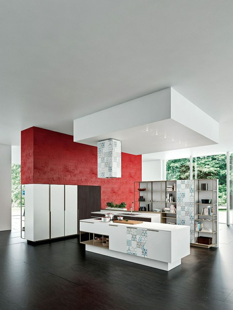 interiores amplios cocina isla blanca pared roja ideas