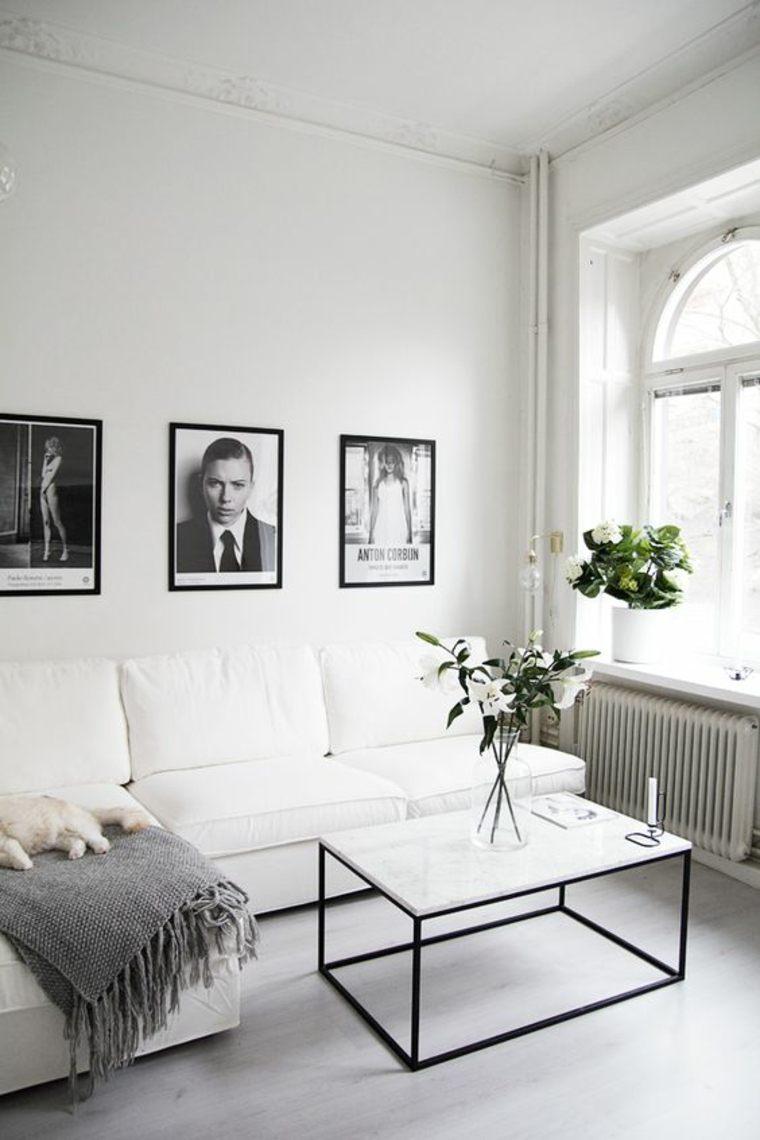 interiores minimalista blanco cuadros flores salon ideas
