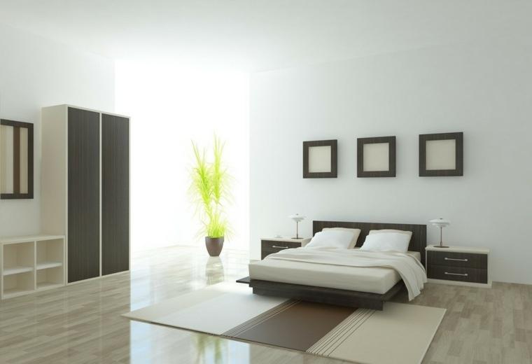 interiores minimalistas amplio cama negra cuadros ideas