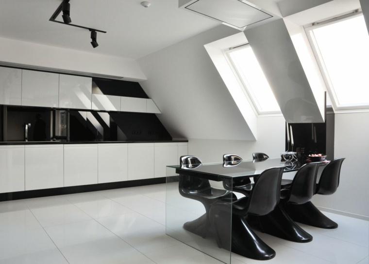 interiores minimalistas apartamento cocina comedor blanco negro ideas