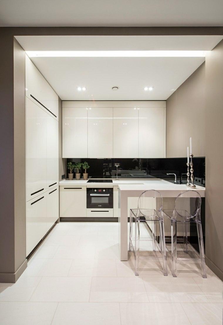 interiores minimalistas apartamento cocina blanco negro ideas