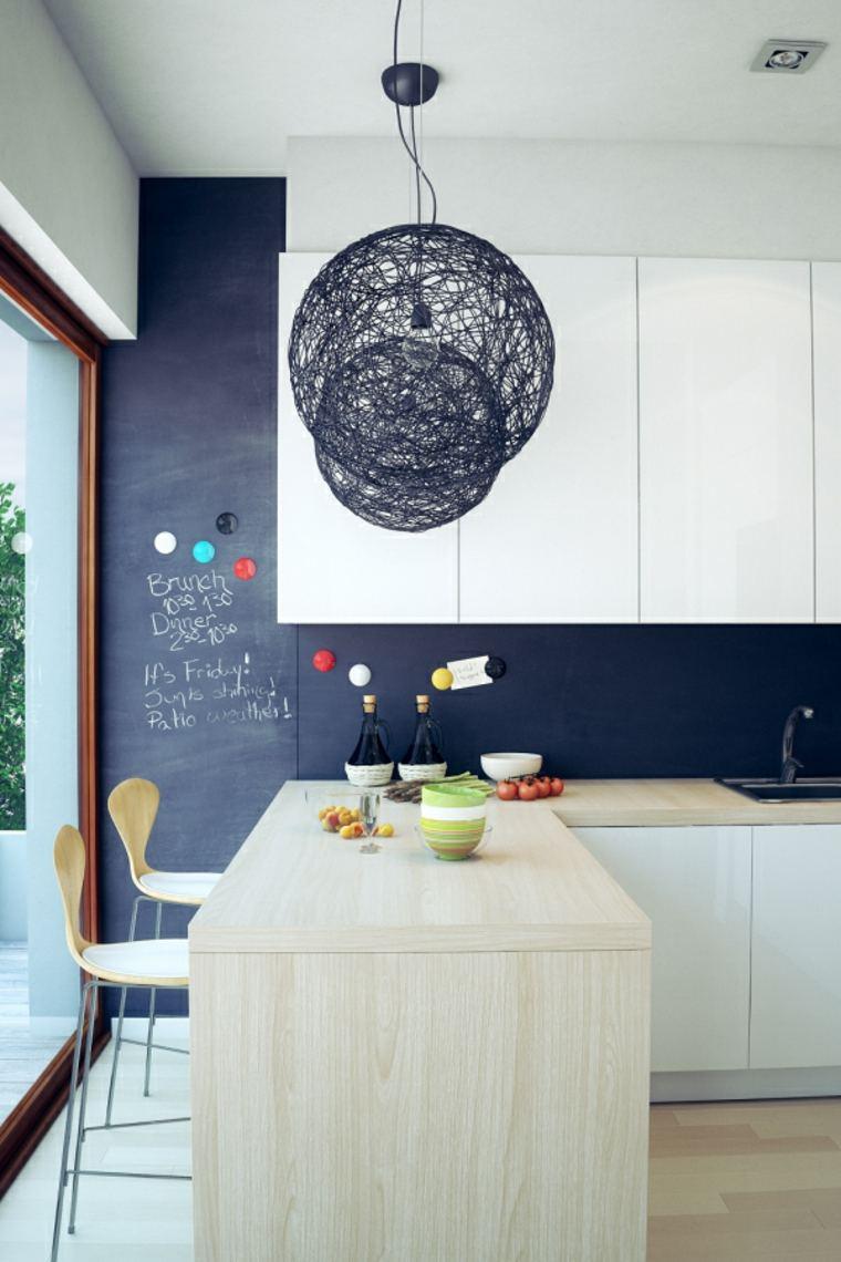 interiores minimalistas barra madera cocina pared negra muebles blancos ideas