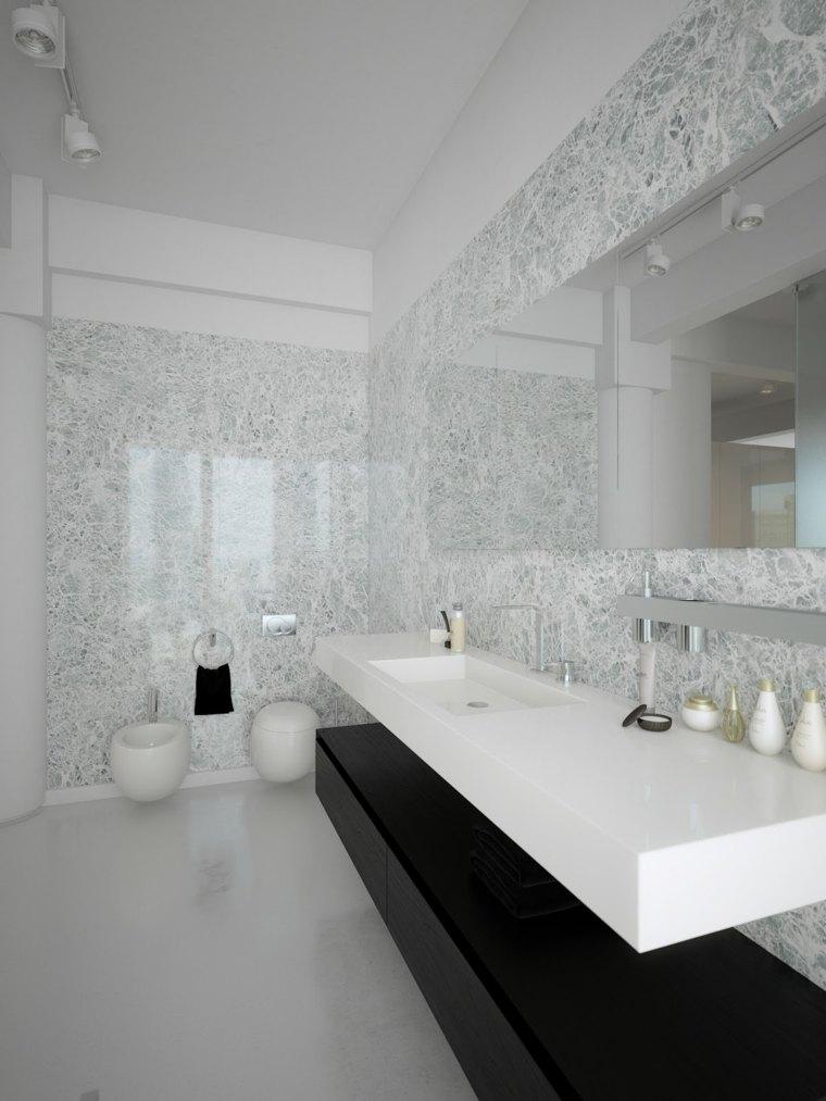 interiores minimalistas blanco negro bano lavabo ideas