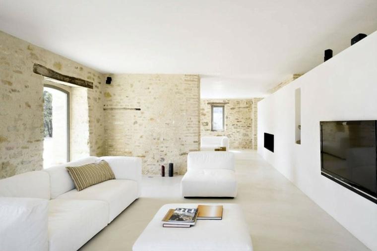interiores minimalistas blanco paredes piedra tele moderno ideas