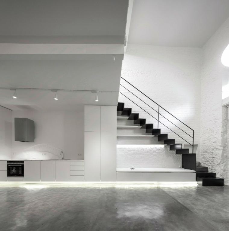 interiores minimalistas cocina iluminacion Led ideas