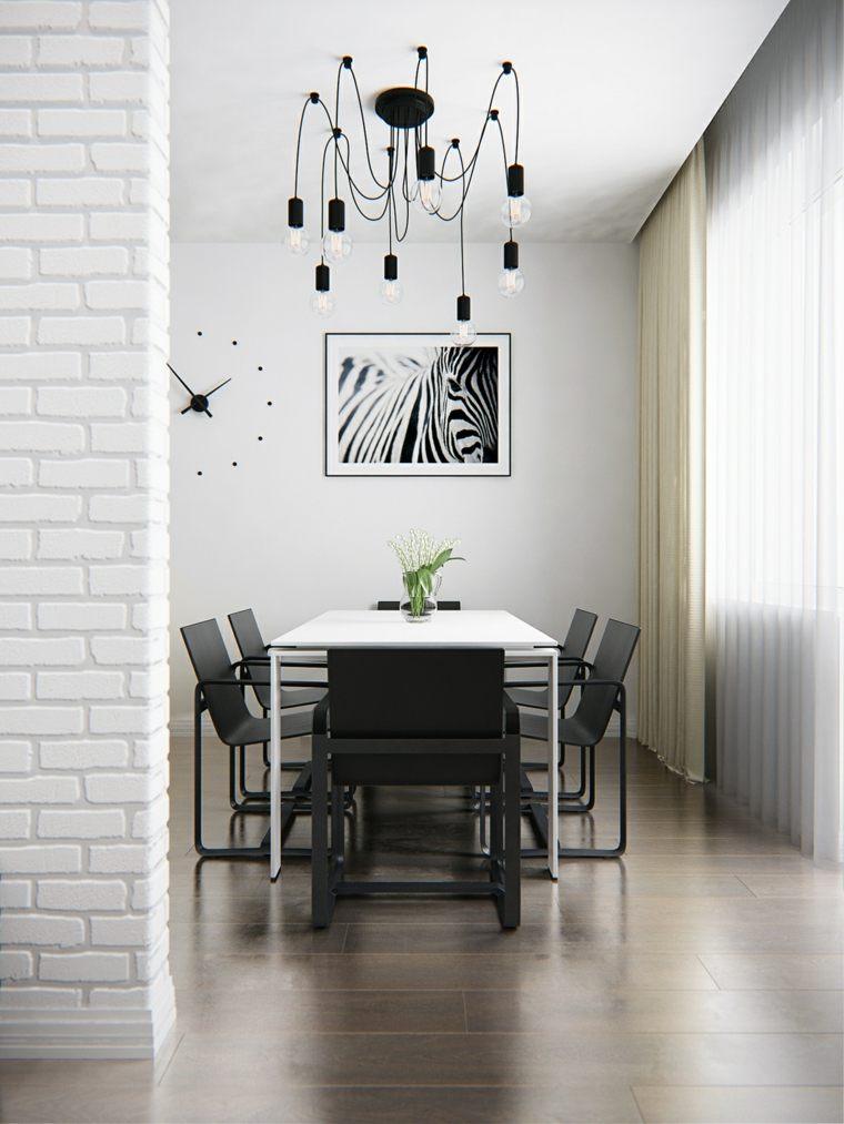 interiores minimalistas comedor blanco negro lampara ideas