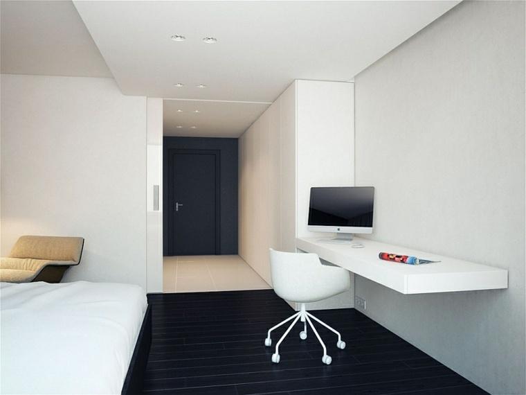 interiores minimalistas escritorio dormitorio diseno ideas