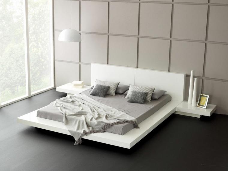 interiores minimalistas modernos dormitorio base cama blanca ideas