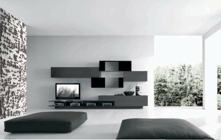 Interiores minimalistas 85 habitaciones en blanco y negro - Decoracion salon blanco y negro ...