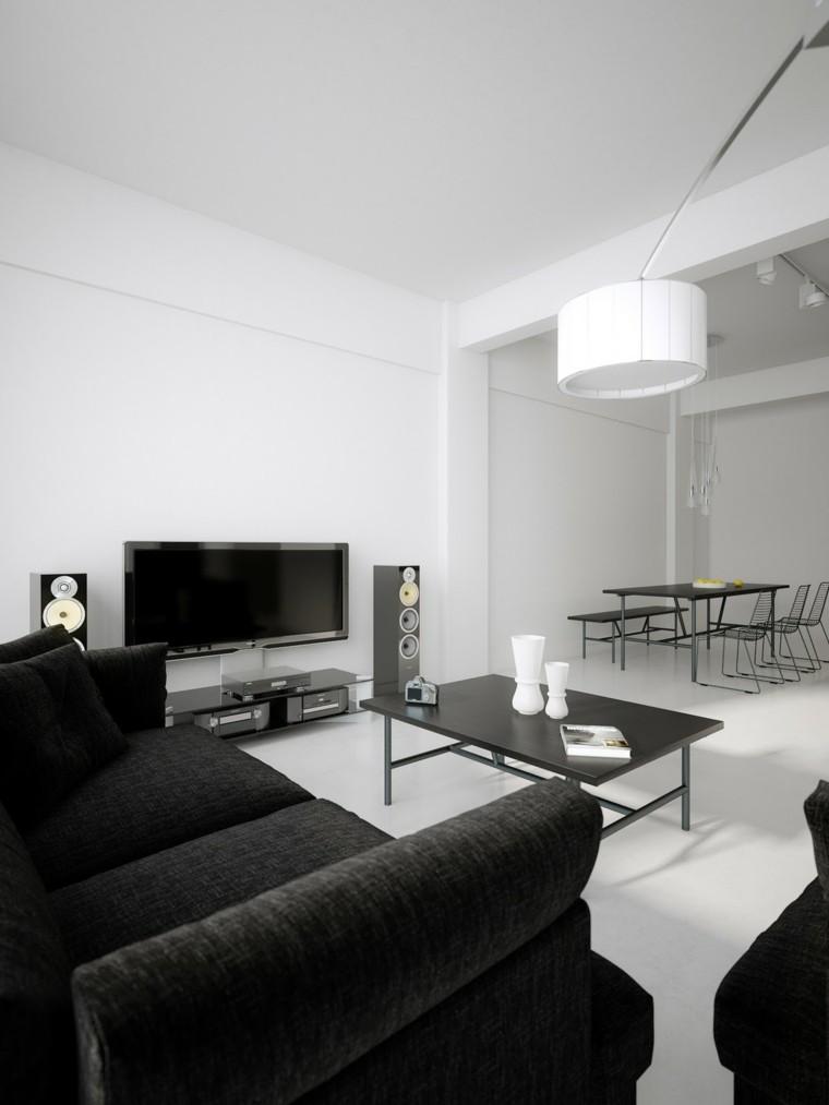 interiores minimalistas salon abierto comedor blancos negro ideas