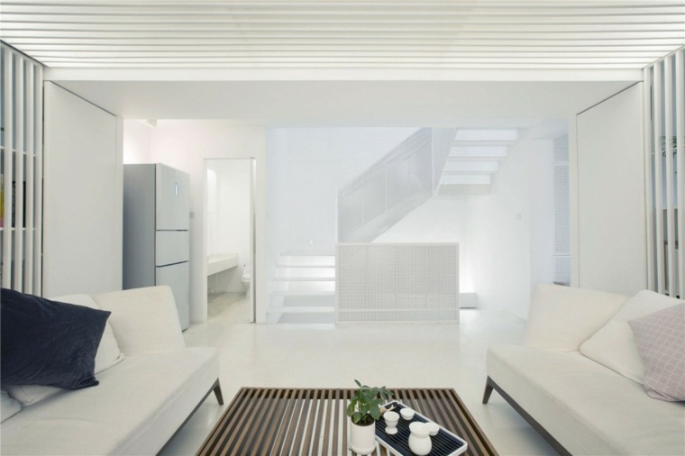 interiores minimalistas salon blanco mesa cafe madera ideas