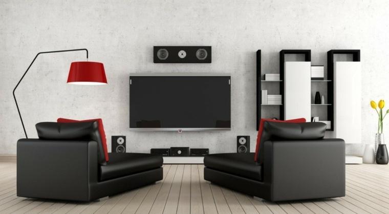 interiores minimalistas salon blanco negro lampara roja ideas