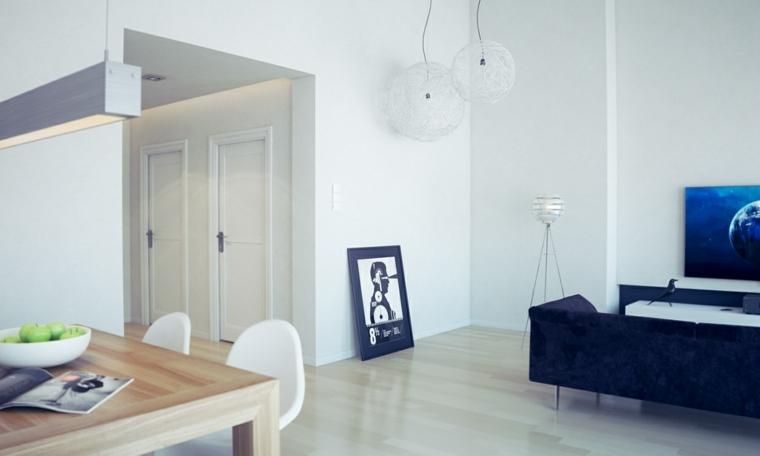 Interiores minimalistas 85 habitaciones en blanco y negro - Salon comedor minimalista ...