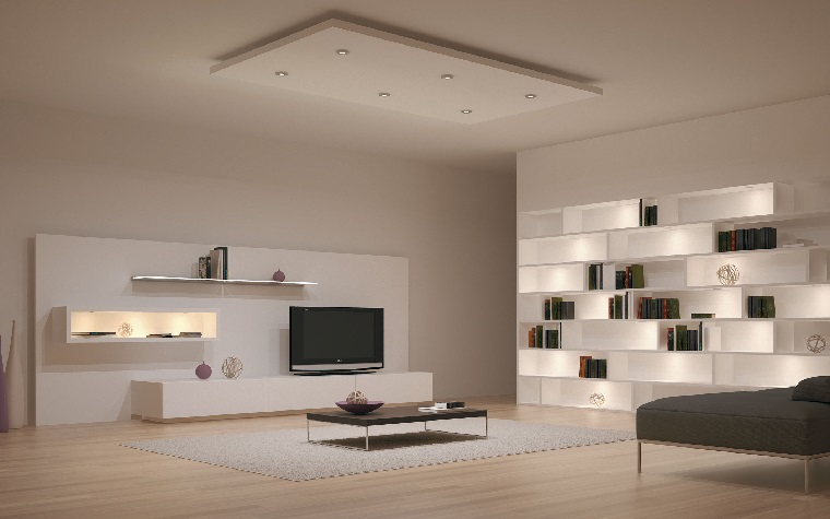 interiores minimalistas salon estanterias blanco moderno ideas