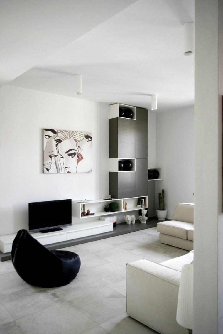 interiores minimalistas salon sillon negro sofa blanca ideas