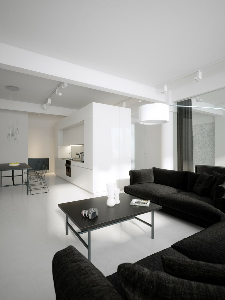 Interiores minimalistas 85 habitaciones en blanco y negro for Interiores minimalistas 2016
