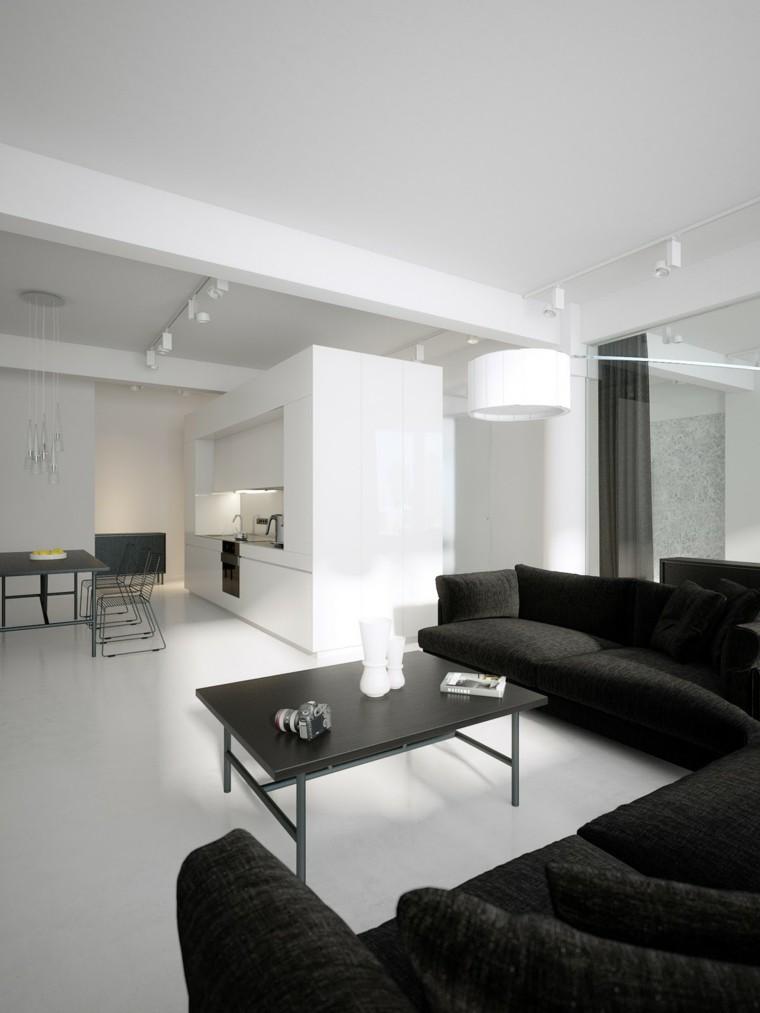 interiores minimalistas salon sofa negra mesa cafe ideas