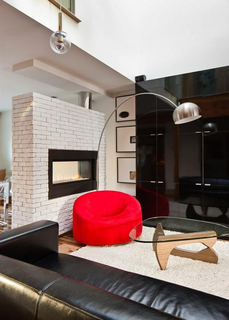 interiores modernos salon negro sillon rojo ideas