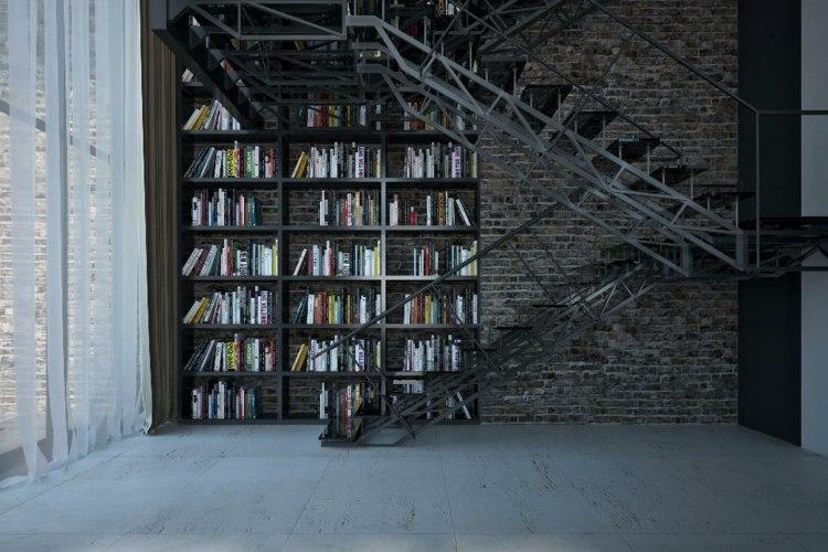interiores industriales diseño biblioteca