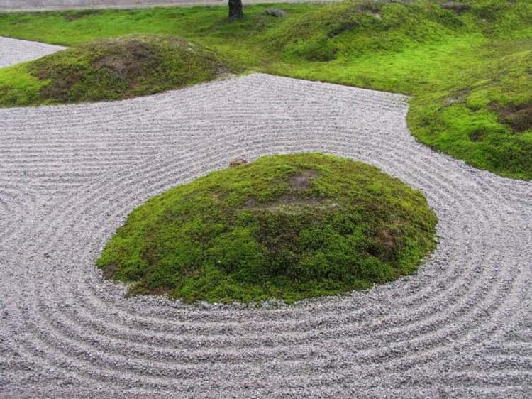 isla cesped jardines zen