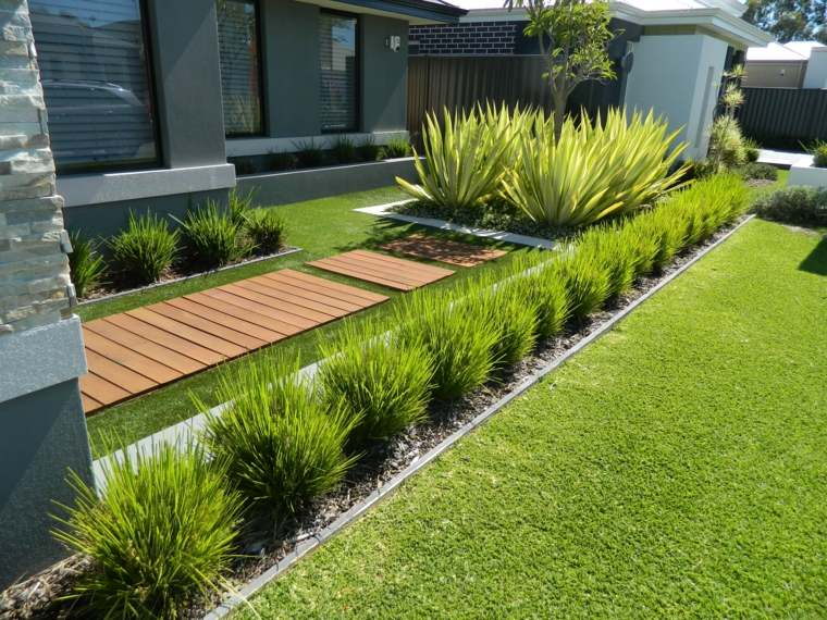 Decoracion de jardines con cesped artificial 50 ideas - Colocar cesped artificial sobre terreno natural ...